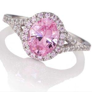 Stauer Pink Lab Created Diamond Ring